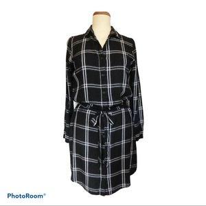 BANANA REPUBLIC Shirt Dress Black & White size 10